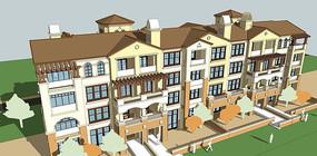 叠拼浅色别墅模型