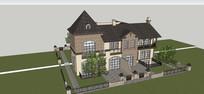 法式别墅庭院模型
