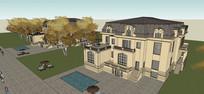 法式皇家特色别墅模型