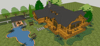 复结构木屋带泳池模型