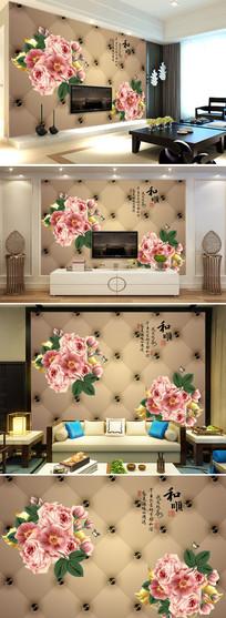 和顺欧式软包手绘玫瑰花客厅电视背景墙图片