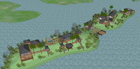 湖心岛私人别墅模型