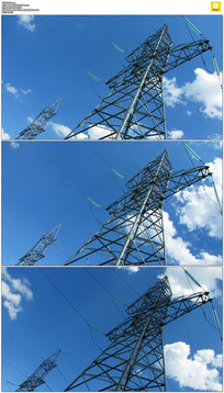 蓝天白云电力电网实拍视频素材