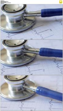 听诊器心电图实拍视频素材
