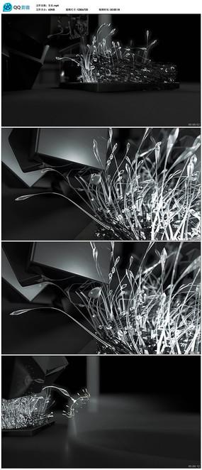 金属花纹枝条生长视频素材
