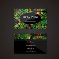 热带植物素材名片设计