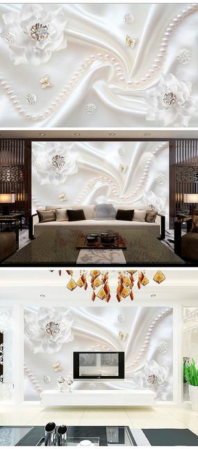 奢华珠宝花朵客厅电视背景墙