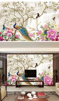 新中式花鸟手绘电视背景墙