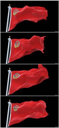 中国警察警徽旗帜视频素材