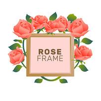 包装袋方形边框玫瑰花装饰图案