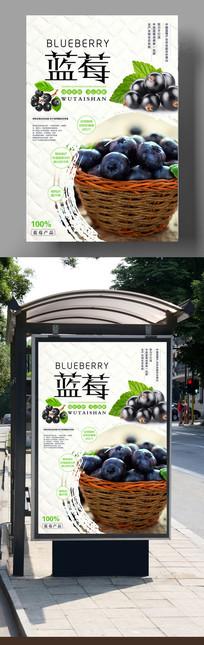 创意蓝莓美食海报