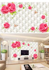 仿软包浪漫玫瑰花客厅电视背景墙