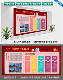 红色企业发展历程文化墙展板宣传栏设计