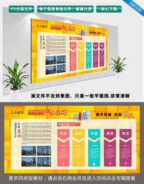黄色墙面简约企业发展历程文化展板