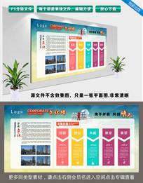 几何背景企业文化墙企业发展历程展板