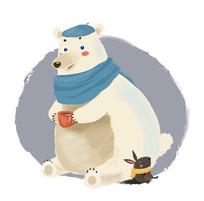 可爱大白熊和小兔插画 EPS