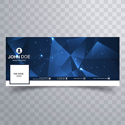 蓝色多边形网页横幅模板图片