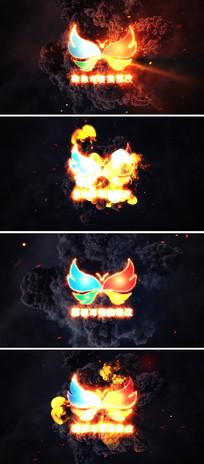 燃烧火焰logo标志动画片头ae模板