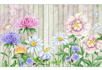手绘玫瑰花卉花藤复古背景墙 TIF