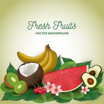 新鲜水果包装矢量背景