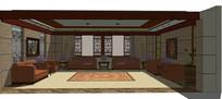 古典会议室装修模型