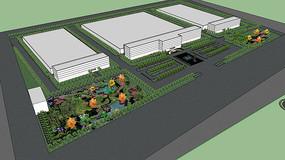 花园厂区广场景观规划SU模型