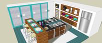 蓝色主调厨房餐厅模型