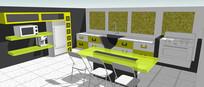 绿色厨房餐厅装修模型