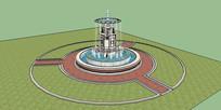 欧式花篮叠水喷泉 skp