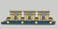 欧式住宅景观水体组合模型