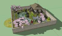 日式小花园景观全模