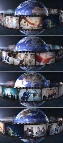 三维胶卷相片围绕地球旋转展示ae模板