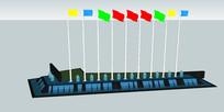 小广场旗帜喷泉