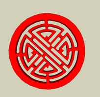 圆形浮雕透雕图案