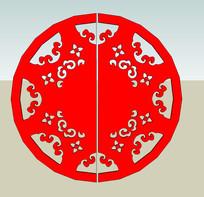 圆形镂空花朵图案