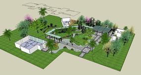中式现代花园SU模型