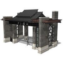 典雅传统中式大门入口景观
