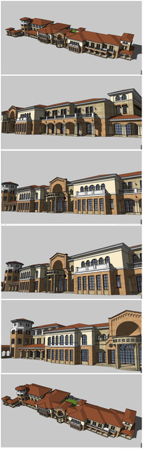 地中海风格售楼处会所建筑营销中心售楼部SU模型