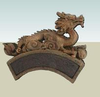 复古中式龙图案贴图模型