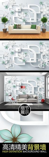 高雅立体几何造型花纹电视背景墙
