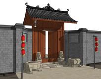 古代中式住宅大门