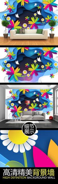 立体卡通绚丽花纹电视背景墙