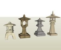 日式古典石灯 skp