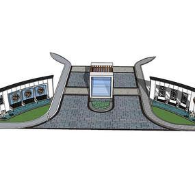 现代新中式大门入口景观