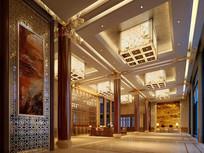 现代中式酒店大厅效果图