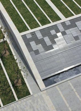 中式圆形浮雕台阶景观