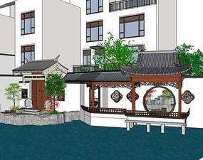 中式别墅庭院休闲廊架景观图片