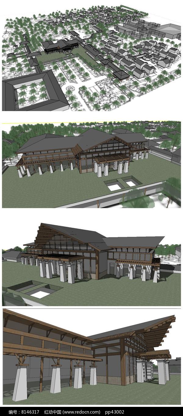 中式古典风格山地酒店建筑群落SU模型图片