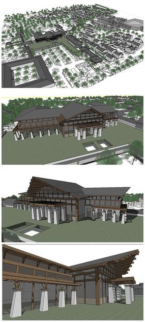中式古典风格山地酒店建筑群落SU模型