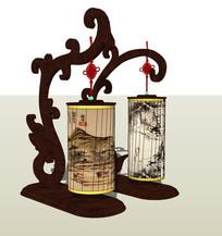 中式木质贴画装饰台灯 skp